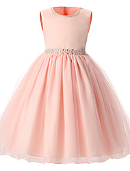 Ball Gown Knee-length Flower Girl Dress - Organza Jewel with Beading Sash / Ribbon