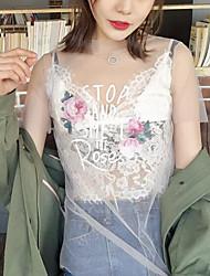 Dames Eenvoudig T-shirt,Casual/Dagelijks Bloemen V-hals Mouwloos Zijde Katoen