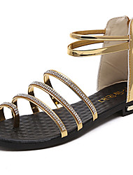 Women's Sandals Summer Comfort PU Outdoor Low Heel Buckle Silver Black Gold Walking
