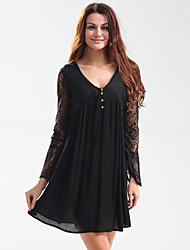 Women's Going out Party Club Loose T Shirt Tunic Dress,Embroidered Deep V Above Knee Long Sleeve Cotton Summer High Rise Micro-elastic