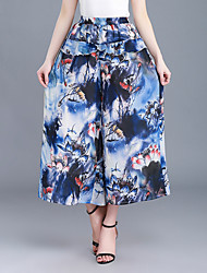 Feminino Moda Cintura Alta Chinos Calças,Perna larga Estampado,Chifon Pregueado