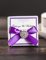 50 Custom Wedding Party Favors Candy Boxes With Ribbon and Rhinestone Personalized Label Gift Packing Box CB509