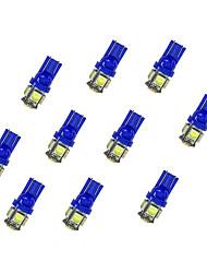 10шт t10 5 * 5050 smd светодиодная лампа автомобиля свет bule light dc12v