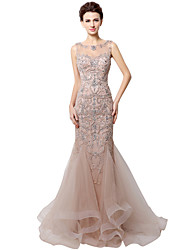 Mermaid / Trumpet Bateau Neck Floor Length Tulle Formal Evening Dress with Beading