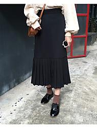 Femme Taille Haute Midi Jupes,Trapèze Plissé Couleur Pleine