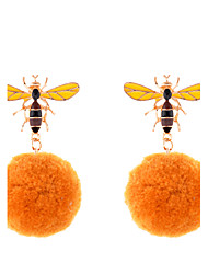 Lureme Lovely Yellow Pom Pom Earrings with Bee Stud Earrings for Women and Girls