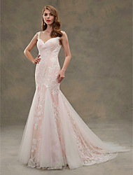 Mermaid / Trumpet Straps Court Train Lace Tulle Wedding Dress with Appliques by LAN TING BRIDE®