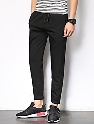 Masculino Tradicional Cor Sólida Lazer Casual / desportivo Coreano Cintura Baixa Micro-Elástico Chinos Calças Esportivas Calças,Reto