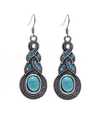 Retro Fashion Water Drop Pattern Blue Crystal Alloy Pattern Imitation Turquoise Earrings For Women