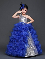Ball Gown Floor-length Flower Girl Dress - Organza One Shoulder with Flower(s) Sequins Pleats