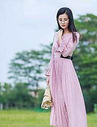 Damen Swing Kleid-Ausgehen Solide Rundhalsausschnitt Maxi Langarm Seide Frühling Mittlere Hüfthöhe Mikro-elastisch Dünn