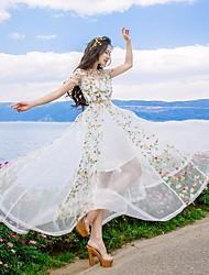Damen Swing Kleid-Strand Blumen Rundhalsausschnitt Maxi Kurzarm Seide Sommer Hohe Hüfthöhe Mikro-elastisch Dünn