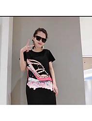 Damen Solide Druck Einfach Lässig/Alltäglich Ausgehen T-shirt,Rundhalsausschnitt Alle Saisons Kurzarm Baumwolle Mittel