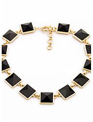 Women's Strands Necklaces Square Chrome Unique Design Black Jewelry For Gift Daily 1pc