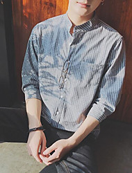Men's Casual/Daily Simple Shirt,Striped Stand Long Sleeve Nylon
