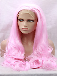 Body Mixed Pink Color Women Hairstyle Heat Resistant Fiber Wavy 14-26 inches Long Synthetic lace front wig