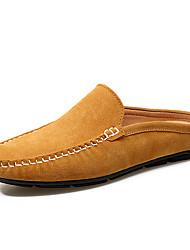 Коричневый Синий Хаки-Для мужчин-Для прогулок Для офиса Повседневный-Замша-На плоской подошве-Удобная обувь-Сандалии