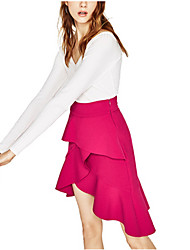 Women's Midi Skirts,Cute Street chic Trumpet/Mermaid Pure Color Solid