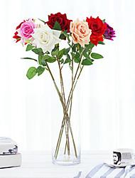 1 Ramo Isopor Plástico Couro Ecológico Fibra Toque real Rosas Plantas Flor de Mesa Flores artificiais