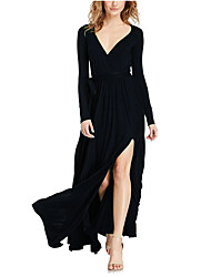 Women's Going out Holiday Sexy Street chic Sheath Dress,Solid V Neck Maxi Long Sleeves Cotton Nylon Fall Winter High Rise Micro-elastic