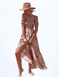 Mousseline de Soie Robe Femme Décontracté / Quotidien Plage Vacances Sexy simple Bohème,Fleur Sans Bretelles Maxi Manches Courtes