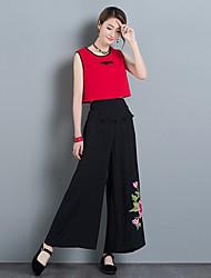 Feminino Simples Cintura Alta Inelástico Chinos Calças,Solto Cor Única,Bordado