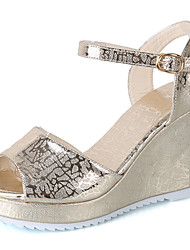 Women's Sandals Club Shoes PU Spring Summer Casual Dress Club Shoes Buckle Wedge Heel Gold Silver 3in-3 3/4in