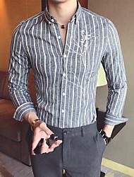 Men's Work Simple Shirt,Striped Shirt Collar Long Sleeve Cotton