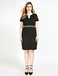 Really Love Women's Plus Size Casual/Daily Party Sexy Vintage Simple Shift Sheath Lace Dress,Solid V Neck Midi Short Sleeve Polyester SpandexAll