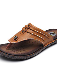 Men's Slippers & Flip-Flops Light Soles PU Casual Button Dark Brown Dark Blue Black Walking
