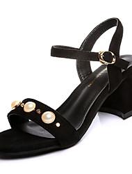 Women's Sandals Comfort Cashmere Summer Casual Walking Comfort Beading Low Heel Black Yellow Khaki 3in-3 3/4in