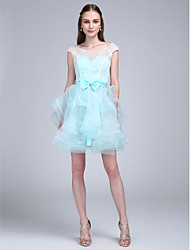 A-Line Scoop Neck Short / Mini Lace Organza Bridesmaid Dress with Bow(s) Lace by LAN TING BRIDE®