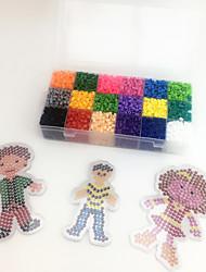 Approx 5400PCS 18 Color 5MM Fuse Beads Set with 3PCS Random Mixed Shape Template Clear Pegboard Family Parent Children DIY Jigsaw(Set A 18*300PCS)