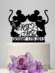 Personalized Acrylic Micky Minnie Wedding Cake Topper