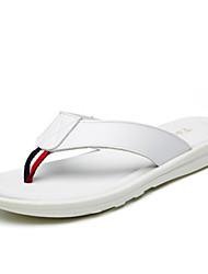 Men's Slippers & Flip-Flops Spring Summer Comfort Light Soles Leather Outdoor Casual Walking Flat Heel Black White Walking Shoes