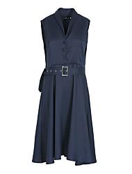 Feminino Bainha Vestido,Para Noite Casual Férias Sensual Simples Moda de Rua Sólido Colarinho de Camisa Longo Sem Manga Poliéster Verão
