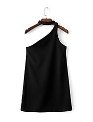 Ample Tee Shirt Robe Femme Sortie Décontracté / Quotidien simple Chic de Rue,Couleur Pleine Fleur Une Epaule Au dessus du genouSans