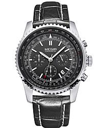 Men's New Calendar Copper Round Leather Multi-Function Quartz Watch