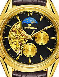 Men's Fashion Watch Mechanical Watch Chinese Quartz Leather Band Gold