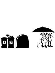 Autocollants muraux autocollants muraux style souris appellent un parapluie pvc autocollants muraux