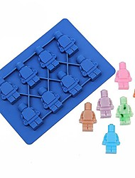 1Pcs Silicone  Robot Ice Cube Ice Box Chocolate Molds Jelly Molds Candy Cake Mould Bakeware Random Color