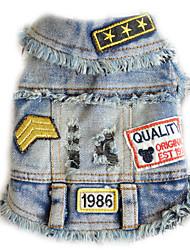 Dog Denim Jacket/Jeans Jacket Dog Clothes Cowboy Casual/Daily Letter & Number Black Blue