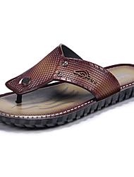 Men's Slippers & Flip-Flops Summer Comfort Light Soles Microfibre Leather Outdoor Casual Flat Heel Dark Brown Light Brown Water Shoes