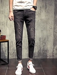 Men's Low Rise Micro-elastic Jeans Pants,Simple Straight Solid