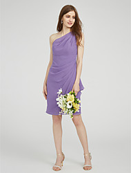 LAN TING BRIDE Knee-length One Shoulder Bridesmaid Dress - Elegant Sleeveless Chiffon