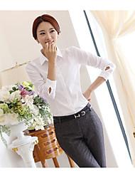 Women's Work Simple Shirt,Solid Shirt Collar Long Sleeve Cotton