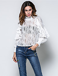 Women's Casual/Daily Simple Shirt,Print Crew Neck Long Sleeve Cotton