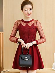 2017 spring models lace long-sleeved dress fashion loose elegant Korean long section