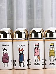 1pcs милые девушки мультфильм тканью крышки стеклянной бутылки (случайные стили)
