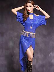 Dança do Ventre Vestidos Mulheres Actuação Tule De um lado e Jacquard 2 Peças Meia manga Natural Vestido Calções